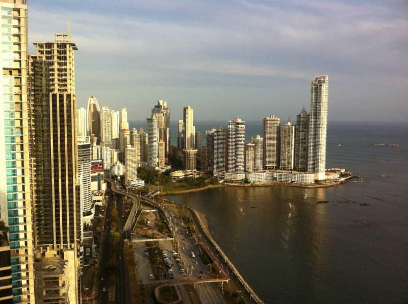 A view of Panama City, Panama on Avenida Balboa