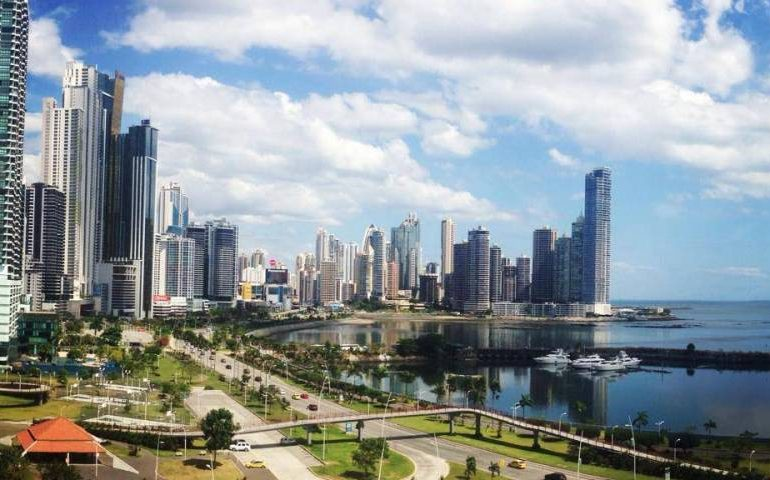 Panama City, Panama skyline on Avenida Balboa